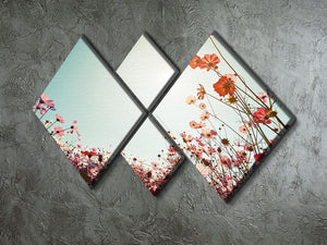 Beautiful cosmos flower field 4 Square Multi Panel Canvas  - Canvas Art Rocks - 2