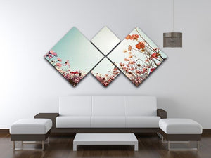 Beautiful cosmos flower field 4 Square Multi Panel Canvas  - Canvas Art Rocks - 3