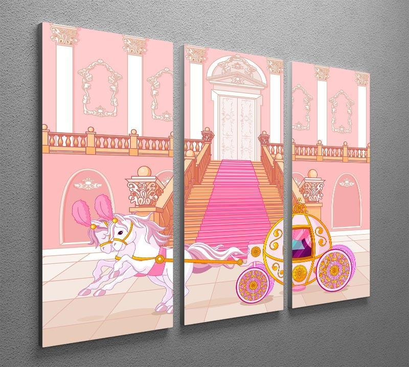 Beautiful fairytale pink carriage 3 Split Panel Canvas Print - Canvas Art Rocks - 2