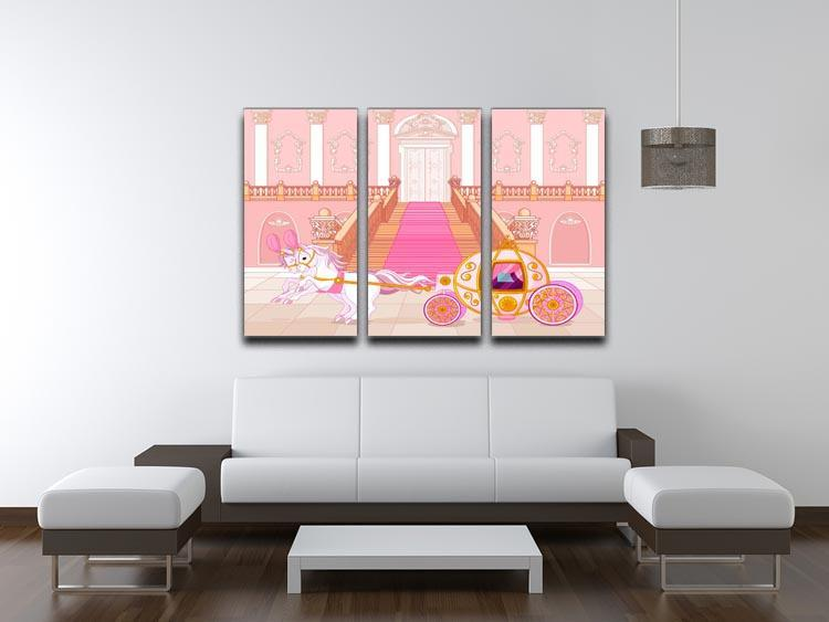 Beautiful fairytale pink carriage 3 Split Panel Canvas Print - Canvas Art Rocks - 3