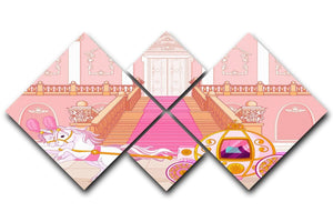 Beautiful fairytale pink carriage 4 Square Multi Panel Canvas  - Canvas Art Rocks - 1