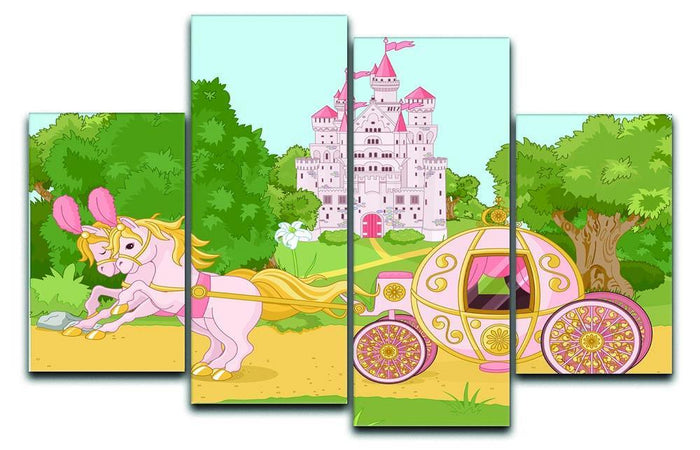 Beautiful fairytale pink carriage and castle 4 Split Panel Canvas