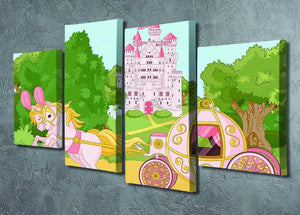 Beautiful fairytale pink carriage and castle 4 Split Panel Canvas - Canvas Art Rocks - 2