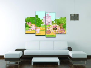 Beautiful fairytale pink carriage and castle 4 Split Panel Canvas - Canvas Art Rocks - 3