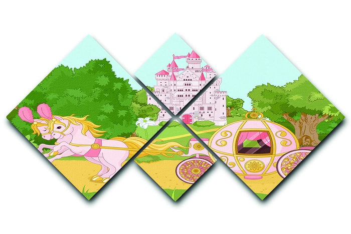 Beautiful fairytale pink carriage and castle 4 Square Multi Panel Canvas