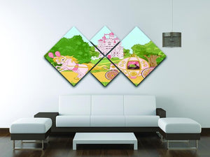 Beautiful fairytale pink carriage and castle 4 Square Multi Panel Canvas - Canvas Art Rocks - 3