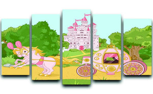 Beautiful fairytale pink carriage and castle 5 Split Panel Canvas  - Canvas Art Rocks - 1