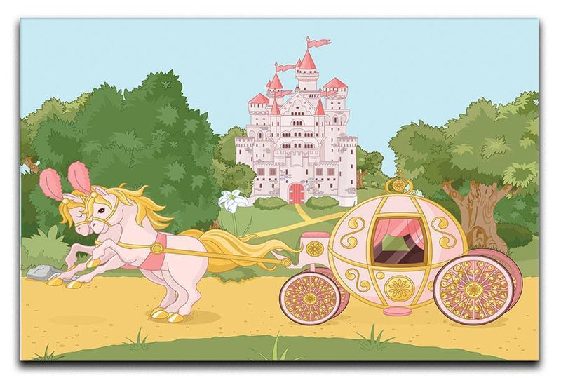 Beautiful fairytale pink carriage and castle Canvas Print or Poster  - Canvas Art Rocks - 1