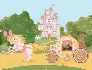 Beautiful fairytale pink carriage and castle Wall Mural Wallpaper - Canvas Art Rocks - 1