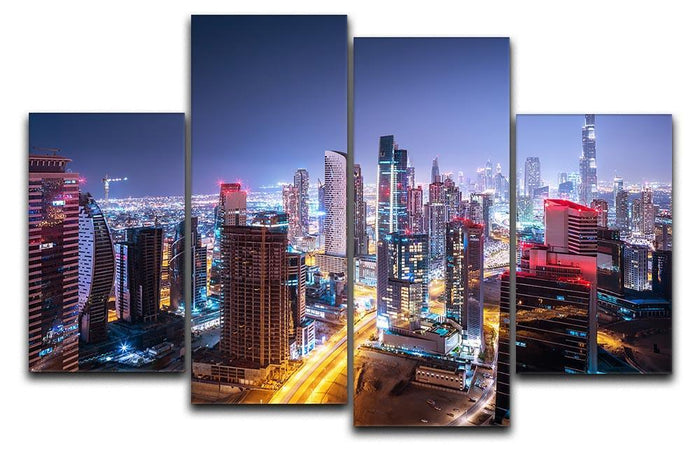 Beautiful night cityscape of Dubai 4 Split Panel Canvas