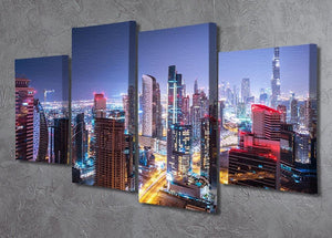 Beautiful night cityscape of Dubai 4 Split Panel Canvas  - Canvas Art Rocks - 2