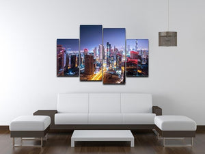 Beautiful night cityscape of Dubai 4 Split Panel Canvas  - Canvas Art Rocks - 3