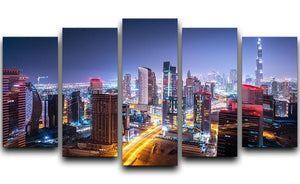 Beautiful night cityscape of Dubai 5 Split Panel Canvas  - Canvas Art Rocks - 1