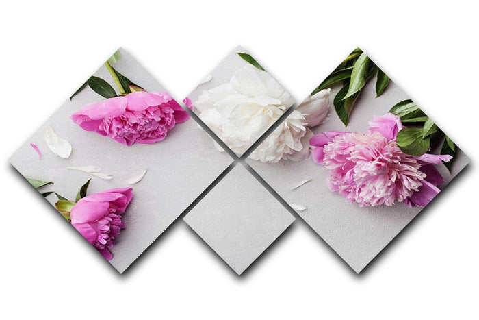 Beautiful pink and white peony flowers 4 Square Multi Panel Canvas