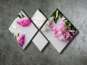 Beautiful pink and white peony flowers 4 Square Multi Panel Canvas  - Canvas Art Rocks - 2