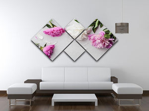 Beautiful pink and white peony flowers 4 Square Multi Panel Canvas  - Canvas Art Rocks - 3