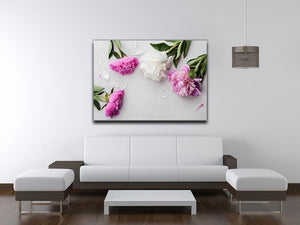 Beautiful pink and white peony flowers Canvas Print or Poster - Canvas Art Rocks - 4