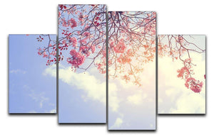 Beautiful tree pink flower in spring 4 Split Panel Canvas  - Canvas Art Rocks - 1