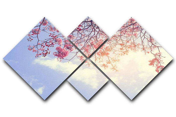 Beautiful tree pink flower in spring 4 Square Multi Panel Canvas