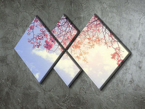 Beautiful tree pink flower in spring 4 Square Multi Panel Canvas  - Canvas Art Rocks - 2