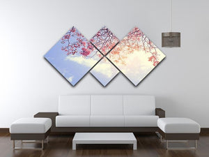 Beautiful tree pink flower in spring 4 Square Multi Panel Canvas  - Canvas Art Rocks - 3
