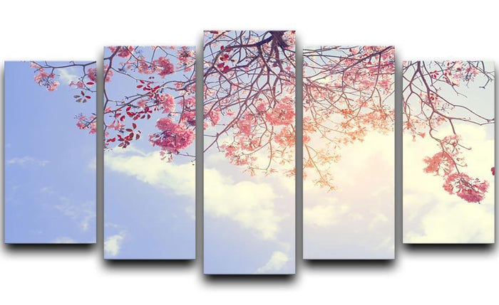 Beautiful tree pink flower in spring 5 Split Panel Canvas
