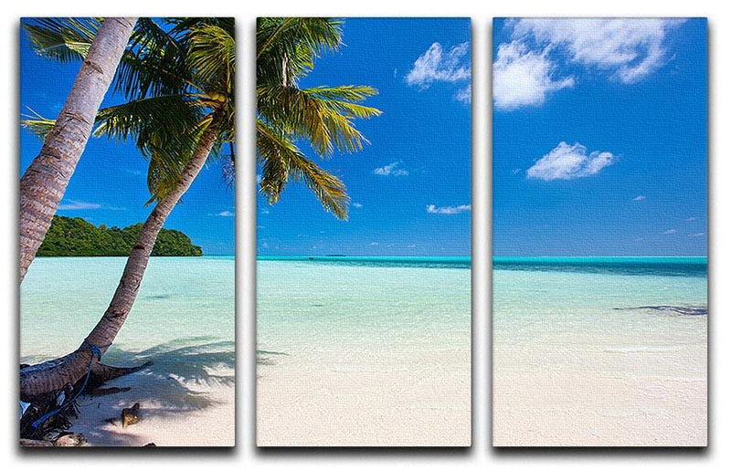Beautiful tropical beach with palm trees 3 Split Panel Canvas Print - Canvas Art Rocks - 1