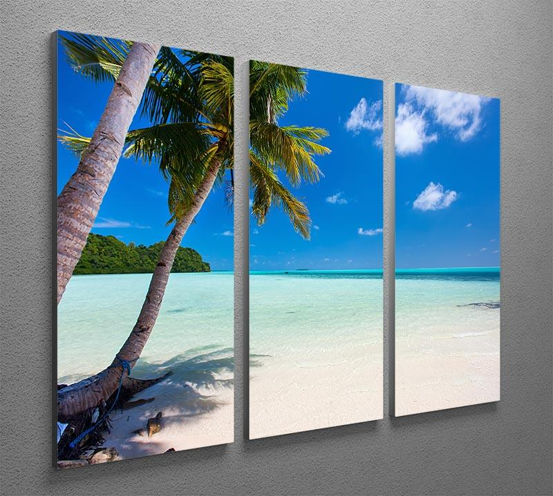Beautiful tropical beach with palm trees 3 Split Panel Canvas Print - Canvas Art Rocks - 2