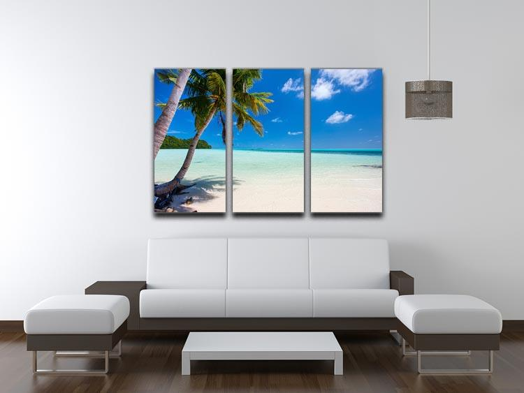 Beautiful tropical beach with palm trees 3 Split Panel Canvas Print - Canvas Art Rocks - 3