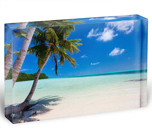 Beautiful tropical beach with palm trees Acrylic Block - Canvas Art Rocks - 1