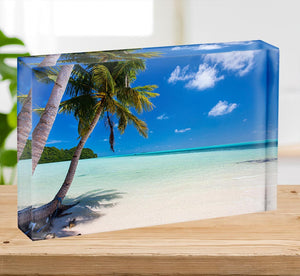 Beautiful tropical beach with palm trees Acrylic Block - Canvas Art Rocks - 2