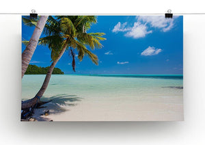Beautiful tropical beach with palm trees Canvas Print or Poster - Canvas Art Rocks - 2