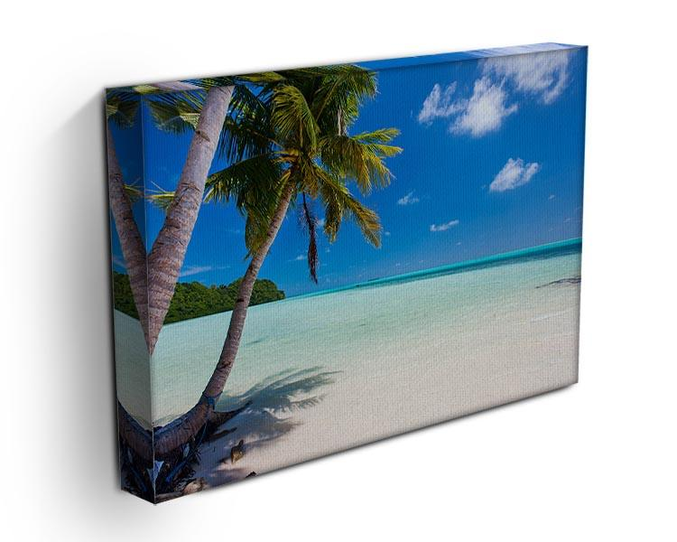 Beautiful tropical beach with palm trees Canvas Print or Poster - Canvas Art Rocks - 3