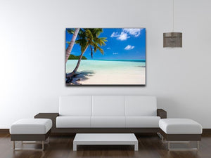 Beautiful tropical beach with palm trees Canvas Print or Poster - Canvas Art Rocks - 4