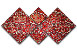 Beautiful turkish carpet 4 Square Multi Panel Canvas  - Canvas Art Rocks - 1
