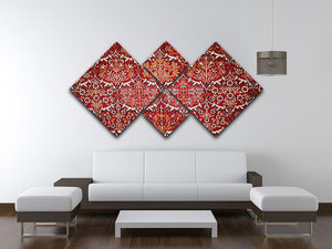 Beautiful turkish carpet 4 Square Multi Panel Canvas  - Canvas Art Rocks - 3