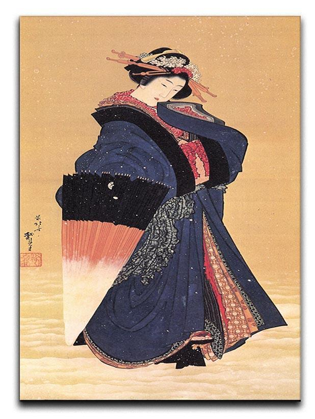 Beauty with umbrella in the snow by Hokusai Canvas Print or Poster