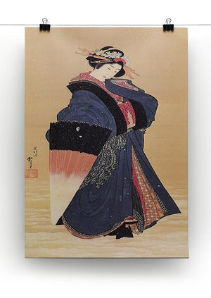 Beauty with umbrella in the snow by Hokusai Canvas Print or Poster - Canvas Art Rocks - 2