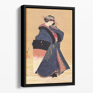 Beauty with umbrella in the snow by Hokusai Floating Framed Canvas