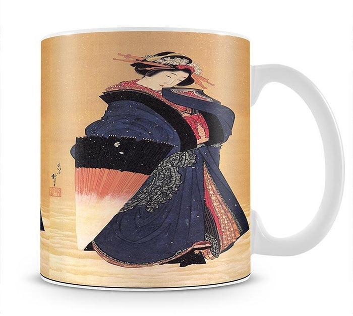 Beauty with umbrella in the snow by Hokusai Mug