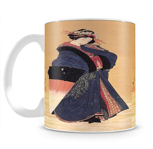Beauty with umbrella in the snow by Hokusai Mug - Canvas Art Rocks - 2