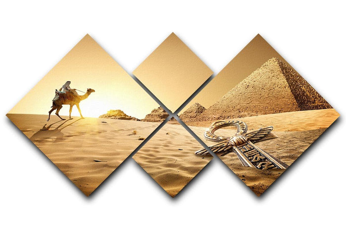 Bedouin on camel 4 Square Multi Panel Canvas