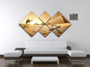 Bedouin on camel 4 Square Multi Panel Canvas  - Canvas Art Rocks - 3