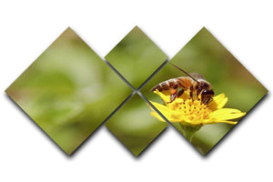 Bee and small sunflower 4 Square Multi Panel Canvas  - Canvas Art Rocks - 1