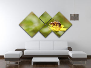 Bee and small sunflower 4 Square Multi Panel Canvas  - Canvas Art Rocks - 3