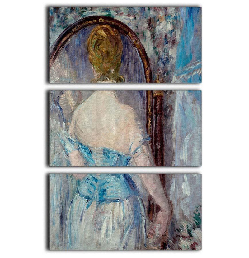 Before the Mirror by Manet 3 Split Panel Canvas Print - Canvas Art Rocks - 1