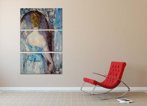 Before the Mirror by Manet 3 Split Panel Canvas Print - Canvas Art Rocks - 2