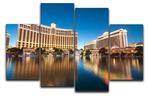 Bellagio Hotel Casino during sunset 4 Split Panel Canvas  - Canvas Art Rocks - 1