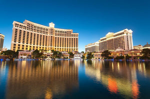 Bellagio Hotel Casino during sunset Wall Mural Wallpaper - Canvas Art Rocks - 1