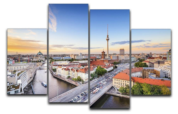 Berlin skyline on the Spree River 4 Split Panel Canvas
